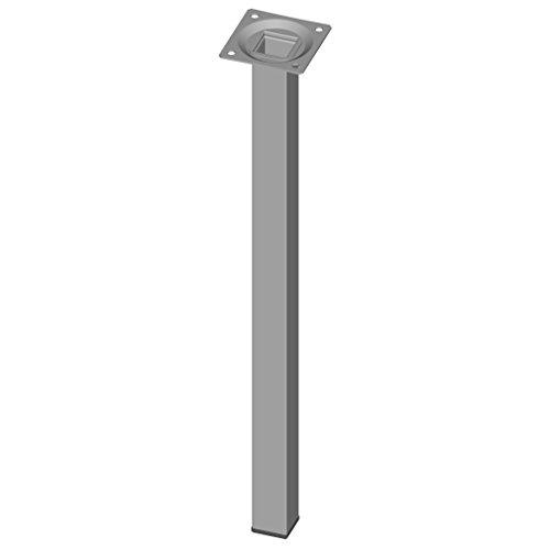 Element System 4 Stück Stahlrohrfüße eckig,  Tischbeine,  Möbelfüße inklusive Anschraubplatte,  40 cm,  10 Abmessungen,  weiß / aluminium,  4 farben, 18133-00303