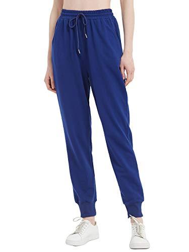 Anna-Kaci Pantalones deportivos para mujer, de ajuste relajado, suaves, informales, con bolsillos. - azul - Medium