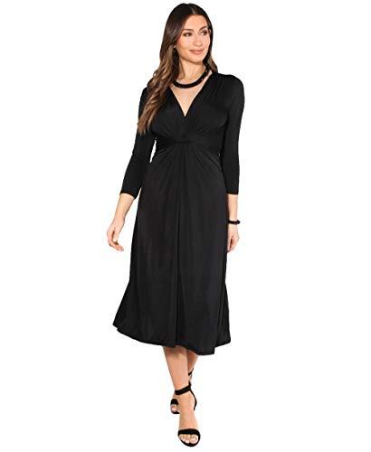 KRISP - Vestito da donna, corto, taglia grande, per matrimonio, serata, cocktail, festa, elasticizzato, effetto plissettato, elegante, da cerimonia Nero (Midi) 52