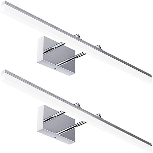Sunco Lighting Paquete de 2 barras de luz LED moderna para vanidad, 15 W = 100 W, blanco ajustable (3000 K/4000 K/5000 K), 1100 lm, cabezal de lámpara ajustable, montaje en pared...