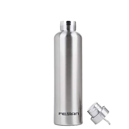 LASTARTS Edelstahl Vakuum Insulaterd Wasserflasche Sport Outdoor-Saugnapf Keep Drinks Hot & Cold Vakuumisolierte Wasserflasche Edelstahl-Becher (Farbe : Silver-1000ml)