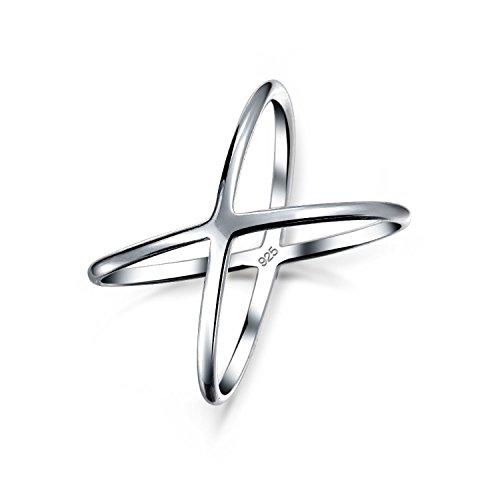 Einfache Geometrische Atomic X Cris Kreuz Ringe Für Jugendlich Für Damen 925 Sterling Silber