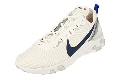 Nike React Element 55, Zapatillas para Correr Hombre, White Midnight Navy Bright Blue, 47.5 EU