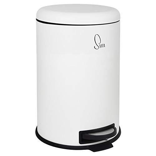 SVITA T20 Mülleimer Weiß Treteimer Abfalleimer 20 Liter inkl. Inneneimer rund Küchen-Hilfe
