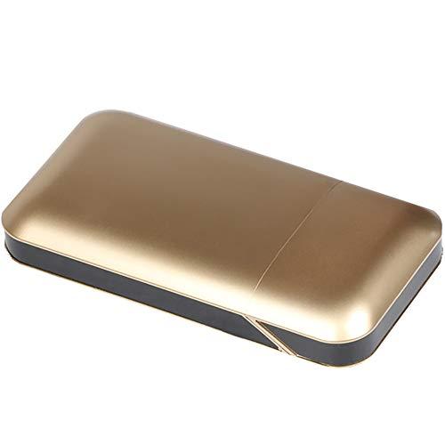 VIY Zigarettenetui Mit Feuerzeug, Aluminium Zigarettenbox, Elektronisches Integriertem Flammenlose Feuerzeug, Aufladbar Zigarettenschachtel, Für 10-20 Stück Zigaretten,Gold