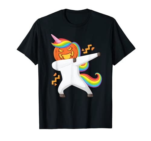 Dabbing Unicorn Halloween Calabaza aterradora Halloween Camiseta