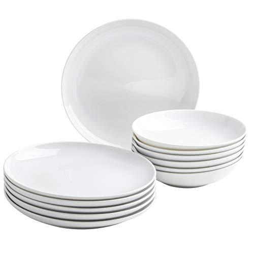 Kahla 390638M90039C Five Senses Porzellan Geschirrset für 6 Personen Tellerset weiß rund modern 12-teilig Teller groß Suppenteller tief Tafelservice