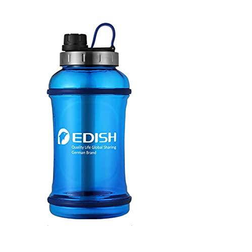 JUYIXIAN botella agua de deportiva motivacional con marcador tiempo botellas 2 litros deporte cristal cantimplora azul 2200ML