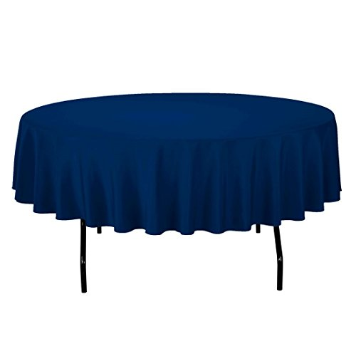 Gee Di Moda Tablecloth - 90' Inch Round Tablecloths for Circular Table Cover in Navy Blue Washable Polyester - Great for Buffet Table, Parties, Holiday Dinner & More