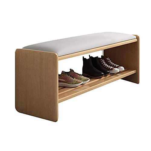 ZAIHW Zapatero de 2 niveles para almacenamiento de zapatos con asiento acolchado, marco de madera, para entrada, pasillo, salón, muebles de acento, color madera, 90 cm