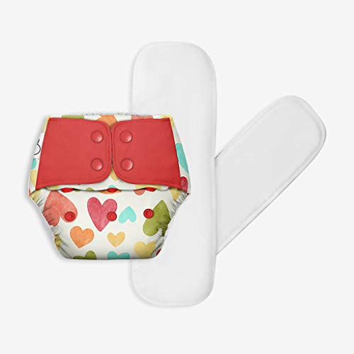 SuperBottoms Freesize UNO - Washable & Reusable Cloth Diaper + 2 Organic Cotton Dry Feel Regular Pads Set [Day & Night Use] (for Babies 5 KG- 17 KG) - Baby Hearts