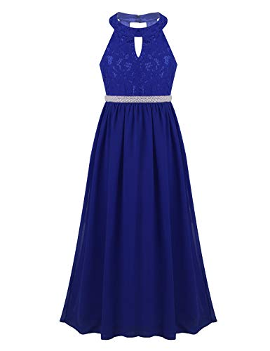 iEFiEL Long Junior Bridesmaid Dress Big Girls Formal Flower Chiffon Maxi Dress Wedding Party Dance Ball Gown Blue 8
