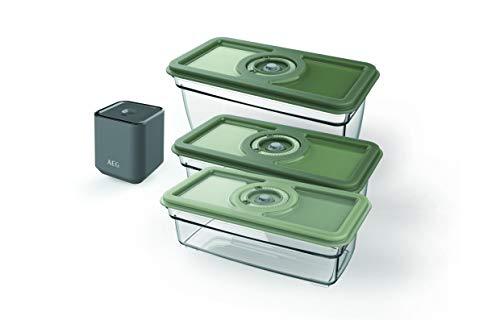 AEG AVFK1+ | Pack 3 Recipientes Herméticos + Bomba de Vacío Eléctrica Portátil - 3 Contenedores al vacío (2x 1L y 1 x 1,6L), Batería de 150 ciclos, Sin BPA, Mejor Conservación de los Alimentos, Gris