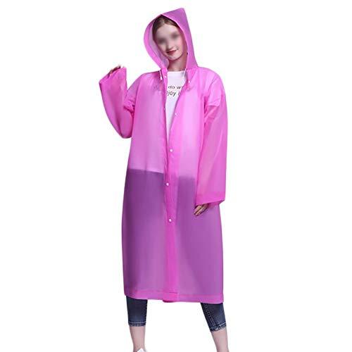 G&F Étanche Imperméable EVA Ponchos Pluie avec Capuche Et Manches pour Adultes pour Extérieur (Color : Pink)