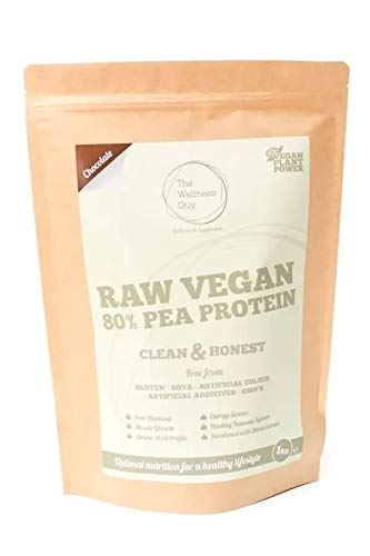 Chocolate Raw Vegan Pea High Protein Powder 1kg Nutritious Vitamins, Minerals, and Vitamins by The Wellness Guy