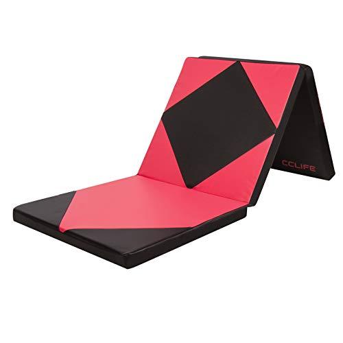 CCLIFE 180x60x5cm Klappbare Weichbodenmatte Turnmatte Fitnessmatte Gymnastikmatte rutschfeste Sportmatte Spielmatte, Farbe:Schwarz & Rot A