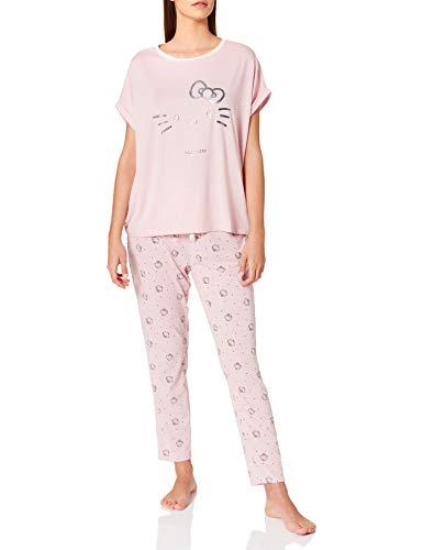Women' Secret Short Sleeves Long Pant Pyjama Pijama, Rosa, XL para Mujer