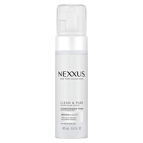 Nexxus Clean & Pure Conditioning Hair Foam Moisturizing Conditioner For Fine Or Thin Hair With ProteinFusion Silicone, Dye And Paraben Free 5.5 oz (10605592005883)