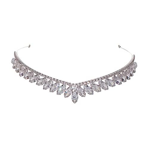 Lurrose Tiara de cumpleaños Corona de boda de cristal nupcial Tocado de...