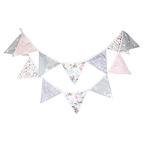Prosperveil - Guirnalda de banderines con banderines triangulares de tela para dormitorio infantil, decoración de fiestas de cumpleaños o bodas Rosa claro y gris.