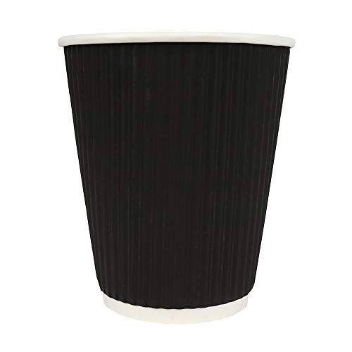 10 oz Colorful Paper Drink Cups - Black Ripple Cold Drink Paper Cups - Beautiful and Disposable Cups Made of Extremely Paper - Frozen Dessert Supplies - 100 Count