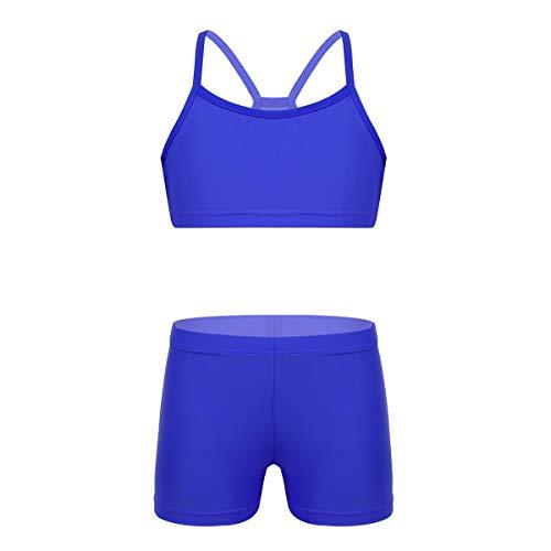 inlzdz Tankini Deportiva para Niñas 4-12 Años Crop Top Racerback + Pantalones Cortos Mailot de Danza Gimnasia Fitness Traje de Baño Verano (11-12, Azul)