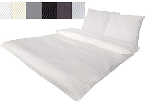 Bettwäsche Doppelpack 4 teilig Luxus luxuriöse Hotel DAMAST Mako Satin Baumwolle Premium 2X 135x200 cm + 2X 80x80 cm Kissenbezug mit Reißverschluss Weiss, 4 teilig 135x200+80x80 cm