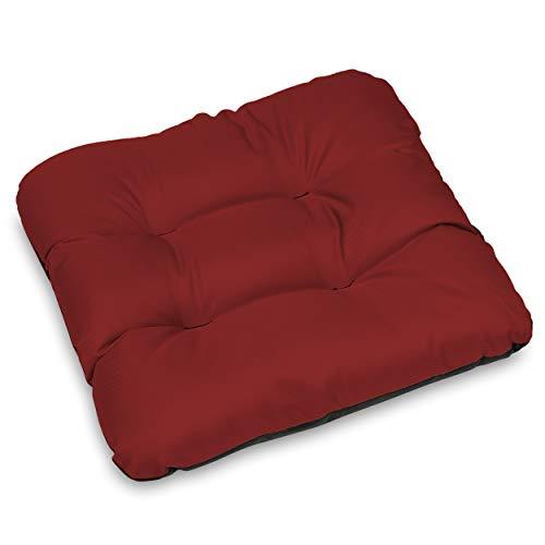 SuperKissen24. Set de 6 Cojines de Asiento - Cojín de Silla 45x45 cm para Interior y Exterior Cómodo e Impermeable para Muebles de Jardin, Terraza, para Suelo - Rojo Oscuro