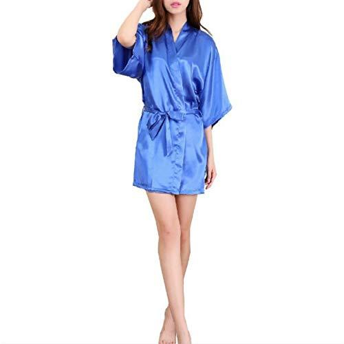 T Ll Sexy Satin Nacht Robe-Spitze Bademantel Bridesmaid Robes Morgenmantel for Frauen, Größe: XXL (Peacock Blue) (Farbe : Blue)