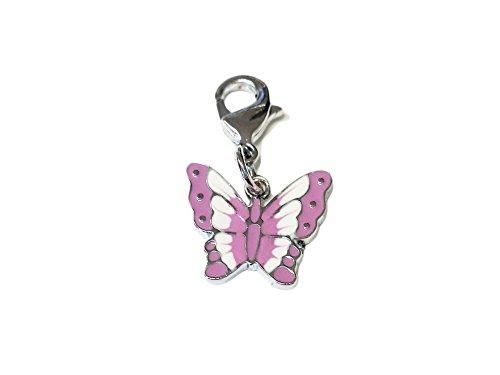 La Loria Charms Anhänger -Butterfly- in lila Karabinerhaken, fürs Armband oder Schnürsenkel