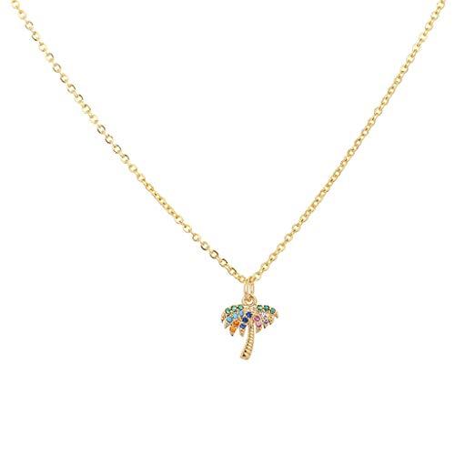 HALLTYG collarCollar de corazón Mujer Colgante de Oro Ojo de Diablo Collar de Arco Iris joyería Zirconia Cobre Serpiente Cruz o-Cadena Collares para Mujer