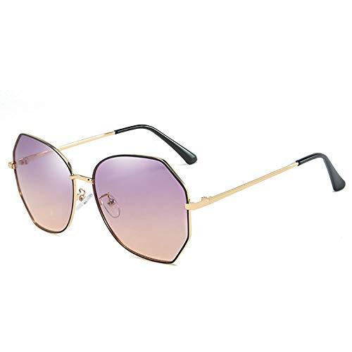 Gafas de Sol polarizadas para Mujer, Gafas de Sol de Marco Redondo, Lentes Anti-ultravioletas Grandes, Hacer su Cara Delgada, Gafas al Aire Libre para Conducir y Pescar, púrpura, Gris