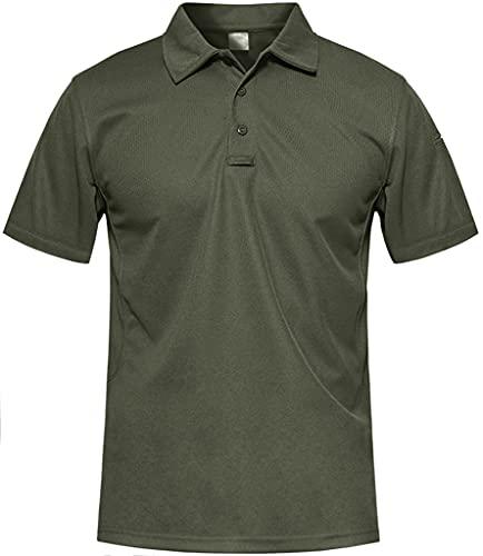 MAGCOMSEN Outdoor Polo T-Shirt Herren Sommer Herbst Sportshirt Quick Dry Hemd Herren Atmungsaktiv Wandern Trekking T-Shirt US Army Shirts mit Knopfleiste Armeegrün L