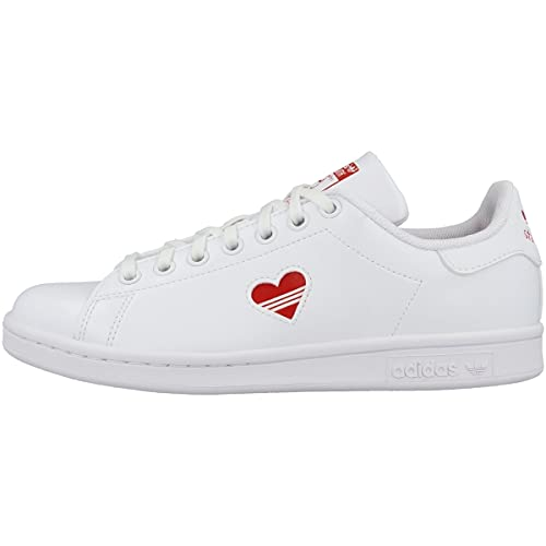 Adidas Stan Smith Gs, scarpe da ginnasticabianche con cuore rosso, Bianco Vivid Cuore Rosso Bianco, 38 EU