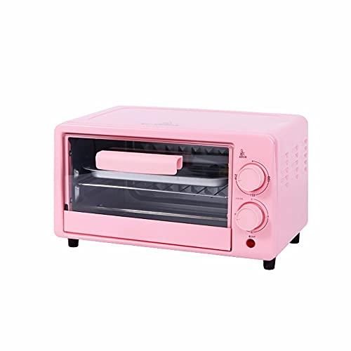 ZXAOYUAN Horno 12L Parrilla eléctrica portátil - Función de cocción múltiple Parrilla y Hornear - Control de Temperatura Ajustable, Temporizador - 700W Pink