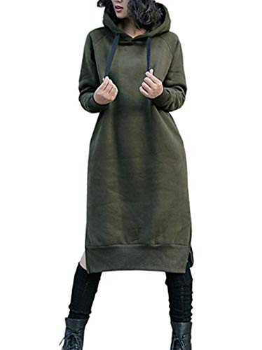 NUTEXROL Women's Thickening Long Fleece Sweatshirt String Hoodie Dress Pullover Plus Size Army Green 2XL