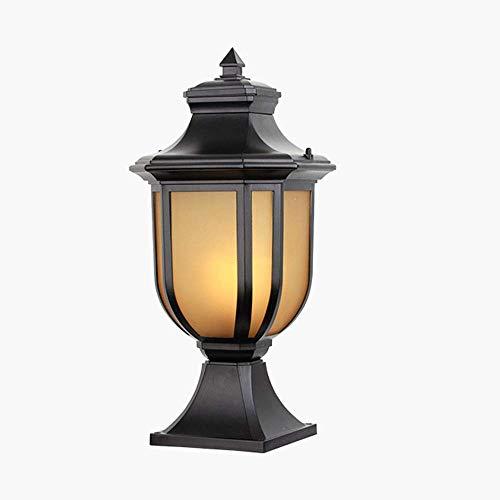 Beautiful Home Decoration lampen Grote Retro Outdoor fitting lamp E27 * 1 Max 40W, pollerlamp zwart gietijzeren aluminium glazen scherm sokkel lampen patio licht tuin decoratie landschap verlichting, 23 * 23 * 4