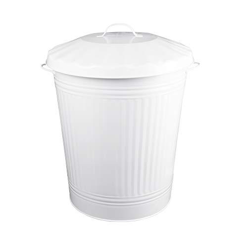 HRB Mülleimer und Wäschebehälter Zink, Vintage Design, sehr stabil, Größen (Weiß, 84 Liter)