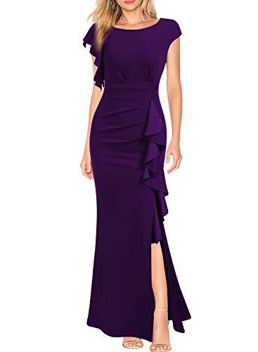 WOOSEA Women's Split Bodycon Mermaid Evening Cocktail Long Dress Purple