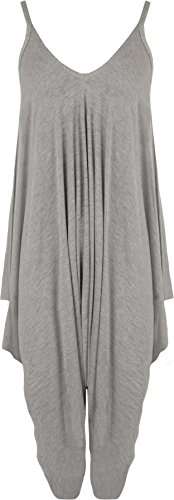 WearAll - Damen Lagenlook Strappy Ausgebeult Harem Jumpsuit Kleid Top Playsuit - Grau - 44-46