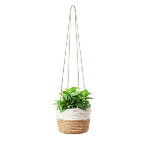 ZQYX Pflanzenhalter mit Baumwollleinen, hängendem Seil Pflanzenblumenhalter, handgefertigten natürlichen, haltbaren, gewebten Blumentöpfen für Gartendekorationen im Innen- und Außenbereich