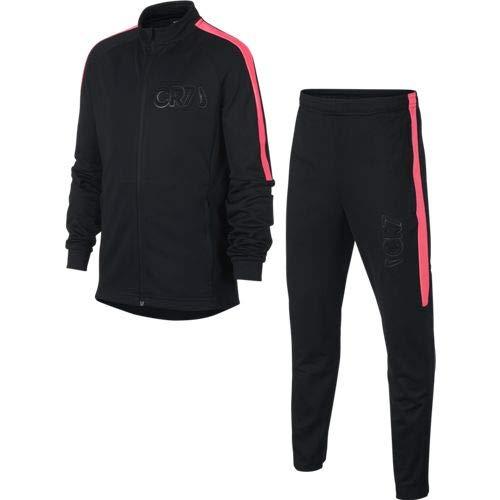 Nike Jungen Dri-FIT CR7 Trainingsanzug, schwarz/schwarz/hot Punch/schwarz, XL