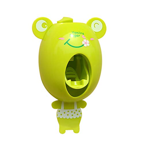 TOPBATHY Cartoon Toothbrush Dispensers Children Hands Free Automatic Cute Animal Toothpaste Squeezer Good Gift for Kids (Frog)