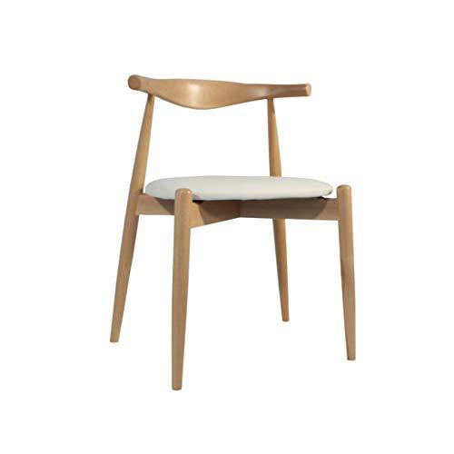 Rojas Mobiliario - Silla Estilo CH20- Estilo Elbow Chair de Carl Hansen Dan Asiento Blanco