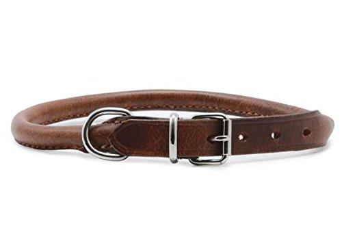 Heritage Leder-Halsband, rund genäht,  kastanienbraun, 20 - 26 cm
