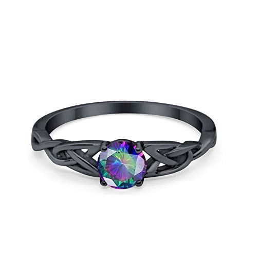 Blue Apple Co. Celtic Trinity Ring Solid 925 Sterling Silver Wedding Engagement Promise Ring Solitaire Black Tone Simulated Rainbow CZ Size-5
