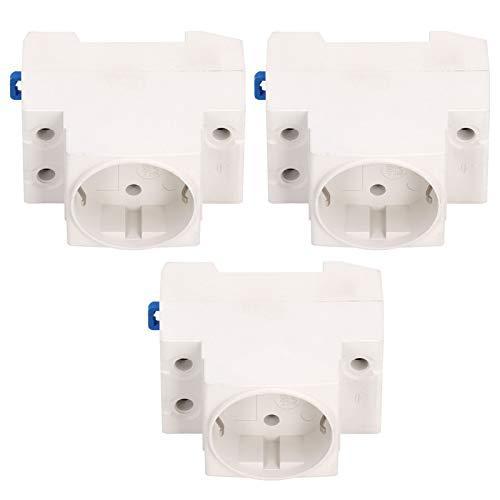 Enchufe de alimentación de 3 uds, adaptador de riel, enchufe eléctrico ABS retardante de llama, conector industrial, enchufe de la UE AC250V 10-16A