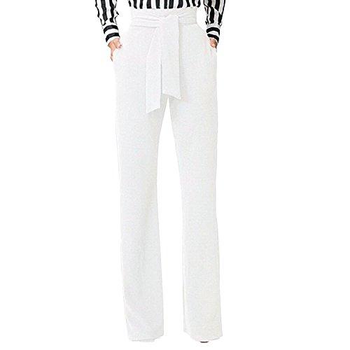 semen Femme Pantalon Évasé Taille Haute Slim Streth avec Ceinture Pantalon Droit Trouser Legging Casual Uni