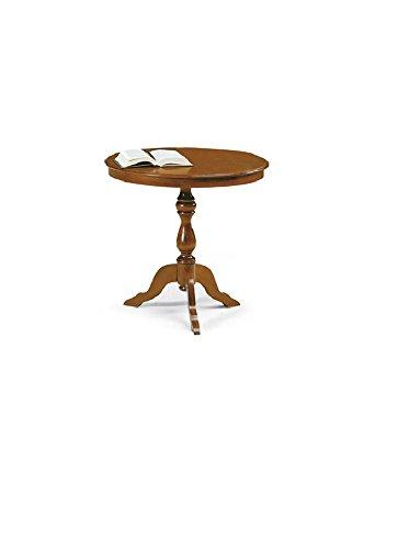 Table d'appoint Rond, Style Classique, en Bois Massif et MDF avec Finition Noyer Brillant - Dim. 60 x 60 x 75