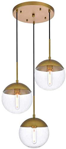 Moderne keuken hanglamp met 3-licht, industriële bol glazen bol plafondverlichting montage, e27 LED kroonluchter lamp lamp voor keuken eiland